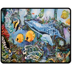 Colorful Aquatic Life Wall Mural Fleece Blanket (medium)  by Simbadda