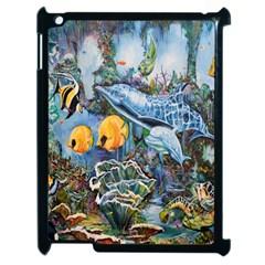 Colorful Aquatic Life Wall Mural Apple Ipad 2 Case (black) by Simbadda