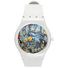 Colorful Aquatic Life Wall Mural Round Plastic Sport Watch (m) by Simbadda