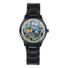 Colorful Aquatic Life Wall Mural Stainless Steel Round Watch by Simbadda
