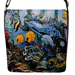 Colorful Aquatic Life Wall Mural Flap Messenger Bag (s) by Simbadda