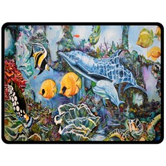 Colorful Aquatic Life Wall Mural Double Sided Fleece Blanket (large)  by Simbadda