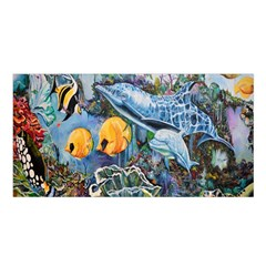 Colorful Aquatic Life Wall Mural Satin Shawl by Simbadda
