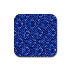 Blue Fractal Background Rubber Square Coaster (4 Pack)  by Simbadda