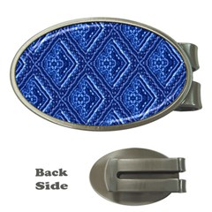 Blue Fractal Background Money Clips (oval)  by Simbadda