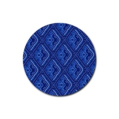 Blue Fractal Background Rubber Round Coaster (4 Pack)  by Simbadda