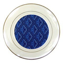Blue Fractal Background Porcelain Plates by Simbadda