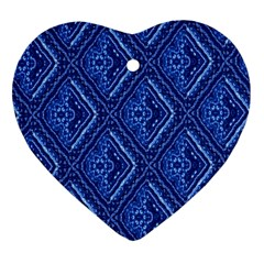Blue Fractal Background Heart Ornament (two Sides) by Simbadda