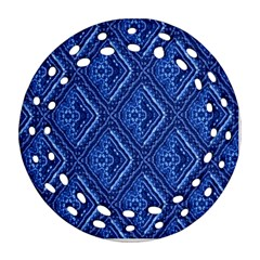 Blue Fractal Background Ornament (round Filigree) by Simbadda