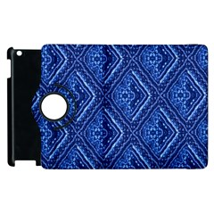Blue Fractal Background Apple Ipad 3/4 Flip 360 Case by Simbadda