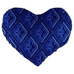 Blue Fractal Background Large 19  Premium Heart Shape Cushions by Simbadda