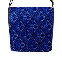 Blue Fractal Background Flap Messenger Bag (l)  by Simbadda