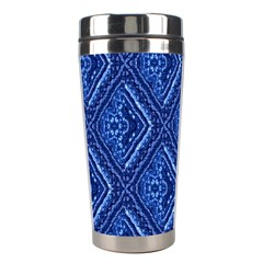 Blue Fractal Background Stainless Steel Travel Tumblers by Simbadda