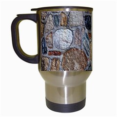 Multi Color Stones Wall Texture Travel Mugs (white) by Simbadda