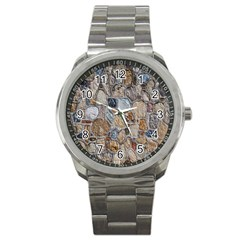 Multi Color Stones Wall Texture Sport Metal Watch by Simbadda