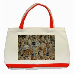 Multi Color Stones Wall Texture Classic Tote Bag (red) by Simbadda