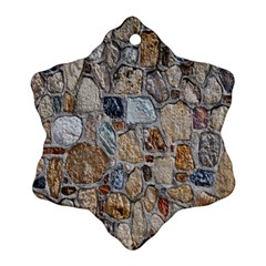 Multi Color Stones Wall Texture Snowflake Ornament (two Sides) by Simbadda