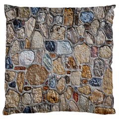 Multi Color Stones Wall Texture Large Cushion Case (two Sides) by Simbadda