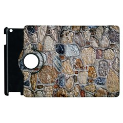 Multi Color Stones Wall Texture Apple Ipad 2 Flip 360 Case by Simbadda