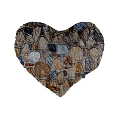 Multi Color Stones Wall Texture Standard 16  Premium Flano Heart Shape Cushions by Simbadda