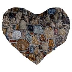 Multi Color Stones Wall Texture Large 19  Premium Flano Heart Shape Cushions by Simbadda