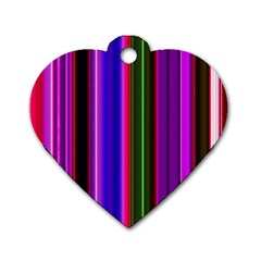 Fun Striped Background Design Pattern Dog Tag Heart (two Sides) by Simbadda