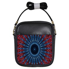 Digital Circle Ornament Computer Graphic Girls Sling Bags by Simbadda
