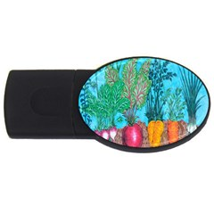 Mural Displaying Array Of Garden Vegetables Usb Flash Drive Oval (2 Gb) by Simbadda