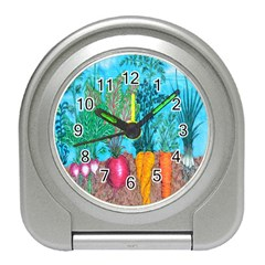 Mural Displaying Array Of Garden Vegetables Travel Alarm Clocks by Simbadda
