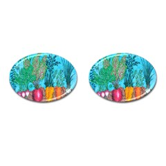 Mural Displaying Array Of Garden Vegetables Cufflinks (oval) by Simbadda