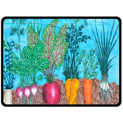 Mural Displaying Array Of Garden Vegetables Double Sided Fleece Blanket (large)  by Simbadda