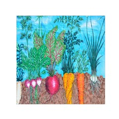Mural Displaying Array Of Garden Vegetables Small Satin Scarf (square) by Simbadda