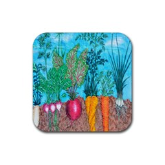 Mural Displaying Array Of Garden Vegetables Rubber Coaster (square)  by Simbadda