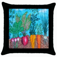 Mural Displaying Array Of Garden Vegetables Throw Pillow Case (black) by Simbadda