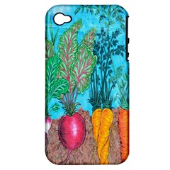 Mural Displaying Array Of Garden Vegetables Apple Iphone 4/4s Hardshell Case (pc+silicone) by Simbadda