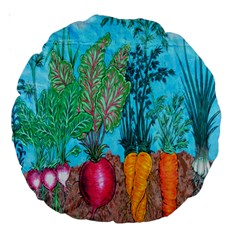 Mural Displaying Array Of Garden Vegetables Large 18  Premium Round Cushions by Simbadda
