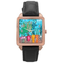 Mural Displaying Array Of Garden Vegetables Rose Gold Leather Watch  by Simbadda
