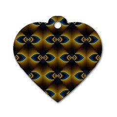 Fractal Multicolored Background Dog Tag Heart (two Sides) by Simbadda