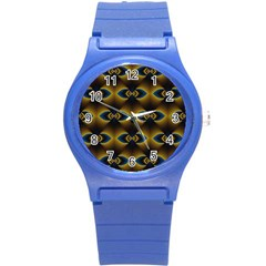 Fractal Multicolored Background Round Plastic Sport Watch (s) by Simbadda