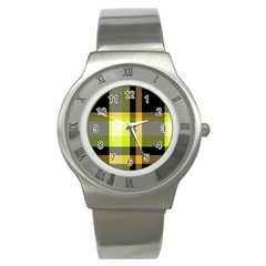 Tartan Pattern Background Fabric Design Stainless Steel Watch by Simbadda