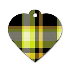 Tartan Pattern Background Fabric Design Dog Tag Heart (one Side) by Simbadda