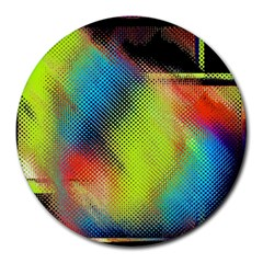 Punctulated Colorful Ground Noise Nervous Sorcery Sight Screen Pattern Round Mousepads by Simbadda