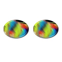Punctulated Colorful Ground Noise Nervous Sorcery Sight Screen Pattern Cufflinks (oval) by Simbadda