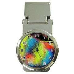 Punctulated Colorful Ground Noise Nervous Sorcery Sight Screen Pattern Money Clip Watches by Simbadda