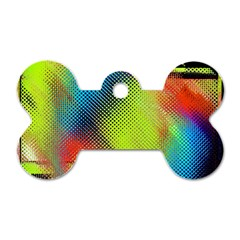 Punctulated Colorful Ground Noise Nervous Sorcery Sight Screen Pattern Dog Tag Bone (one Side) by Simbadda