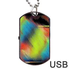 Punctulated Colorful Ground Noise Nervous Sorcery Sight Screen Pattern Dog Tag Usb Flash (one Side) by Simbadda