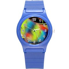 Punctulated Colorful Ground Noise Nervous Sorcery Sight Screen Pattern Round Plastic Sport Watch (s) by Simbadda