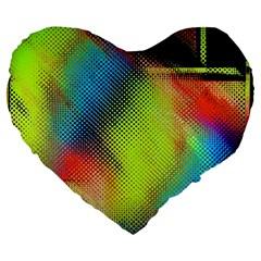 Punctulated Colorful Ground Noise Nervous Sorcery Sight Screen Pattern Large 19  Premium Flano Heart Shape Cushions by Simbadda
