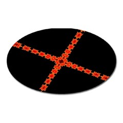 Red Fractal Cross Digital Computer Graphic Oval Magnet by Simbadda