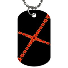 Red Fractal Cross Digital Computer Graphic Dog Tag (two Sides) by Simbadda